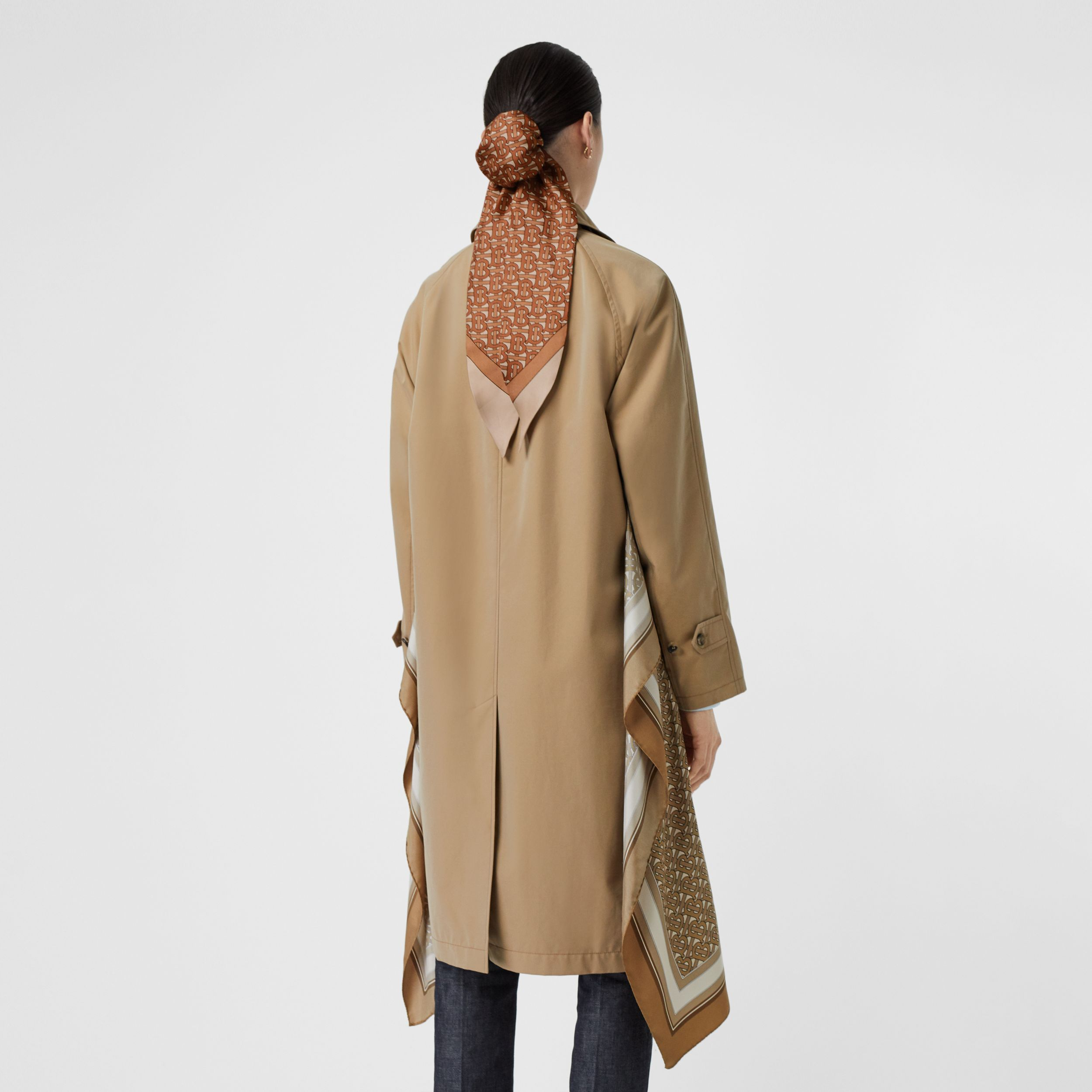 Monogram Print Silk Panel Cotton Car Coat in Pale Honey | Burberry Singapore - 3
