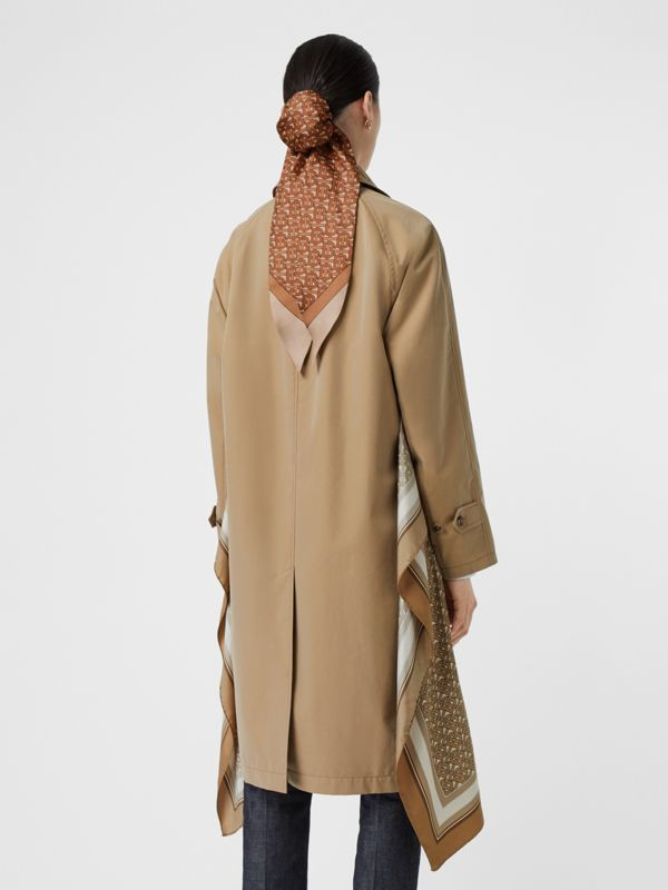Monogram Print Silk Panel Cotton Car Coat in Pale Honey - Women | Burberry - cell image 2