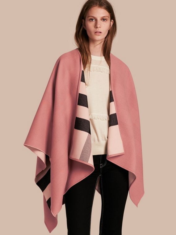 Reversible Check Merino Wool Poncho in Ash Rose