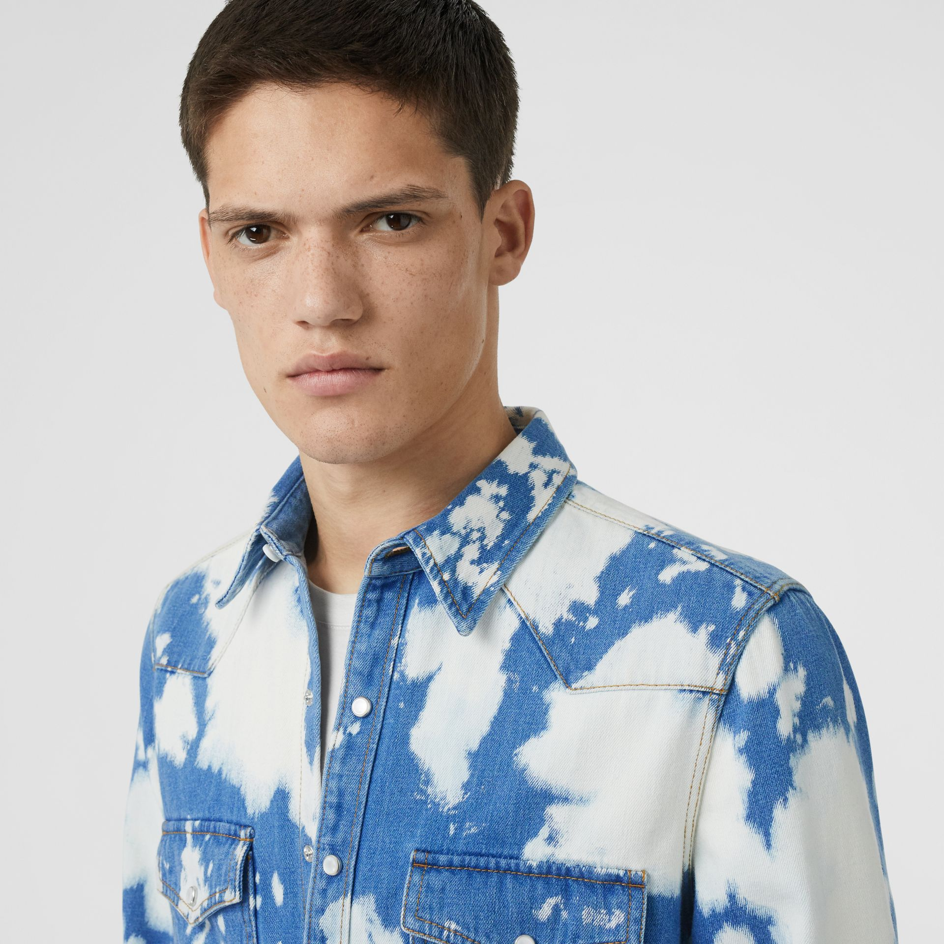 Monogram Motif Bleached Denim Shirt in Light Indigo - Men | Burberry - gallery image 1