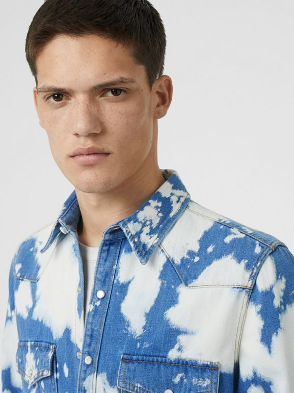 Monogram Motif Bleached Denim Shirt in Light Indigo - Men | Burberry - cell image 1