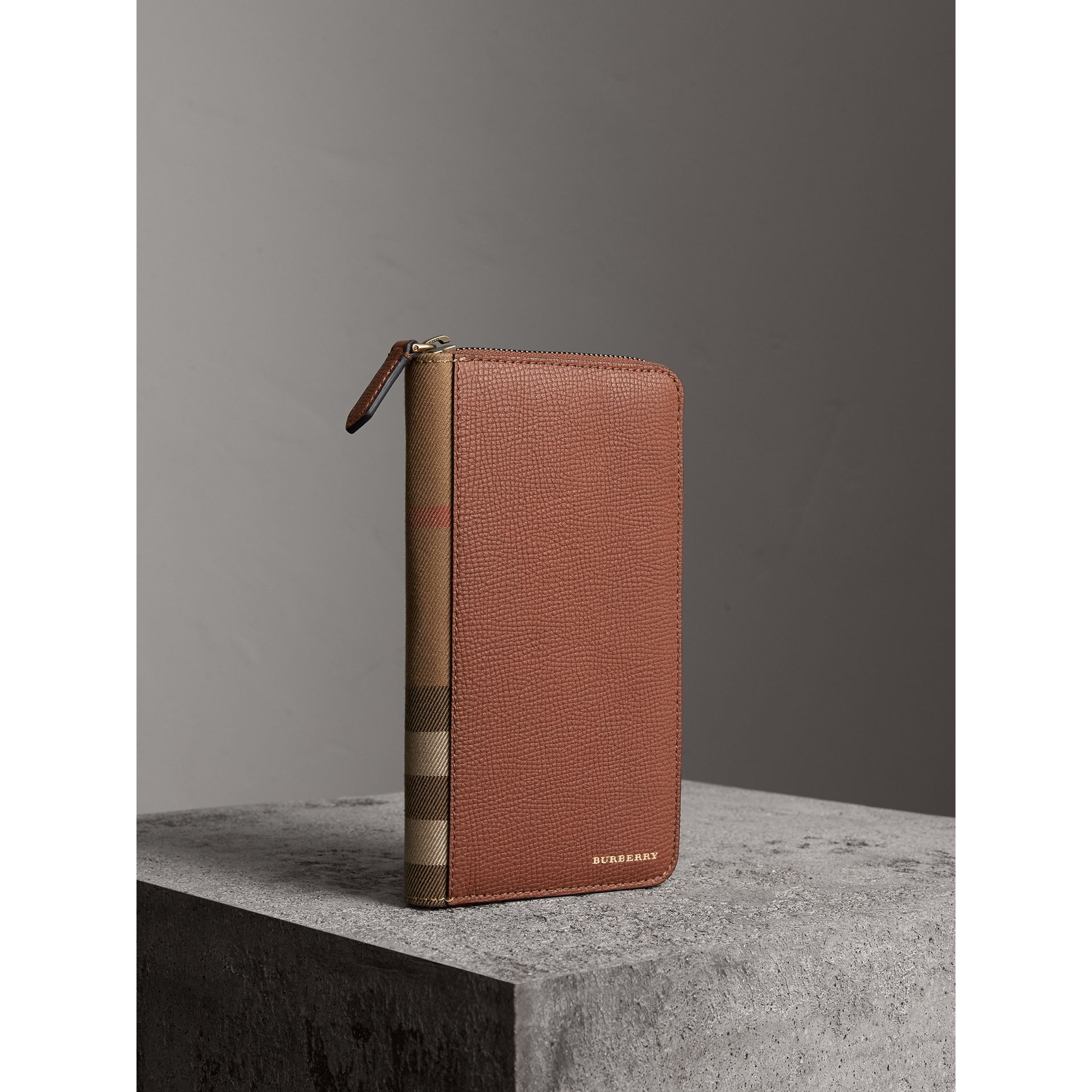 House Check and Grainy Leather Ziparound Wallet in Chestnut Brown | Burberry - gallery image 1
