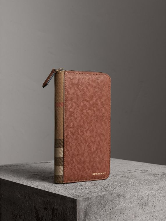 House Check and Grainy Leather Ziparound Wallet in Chestnut Brown