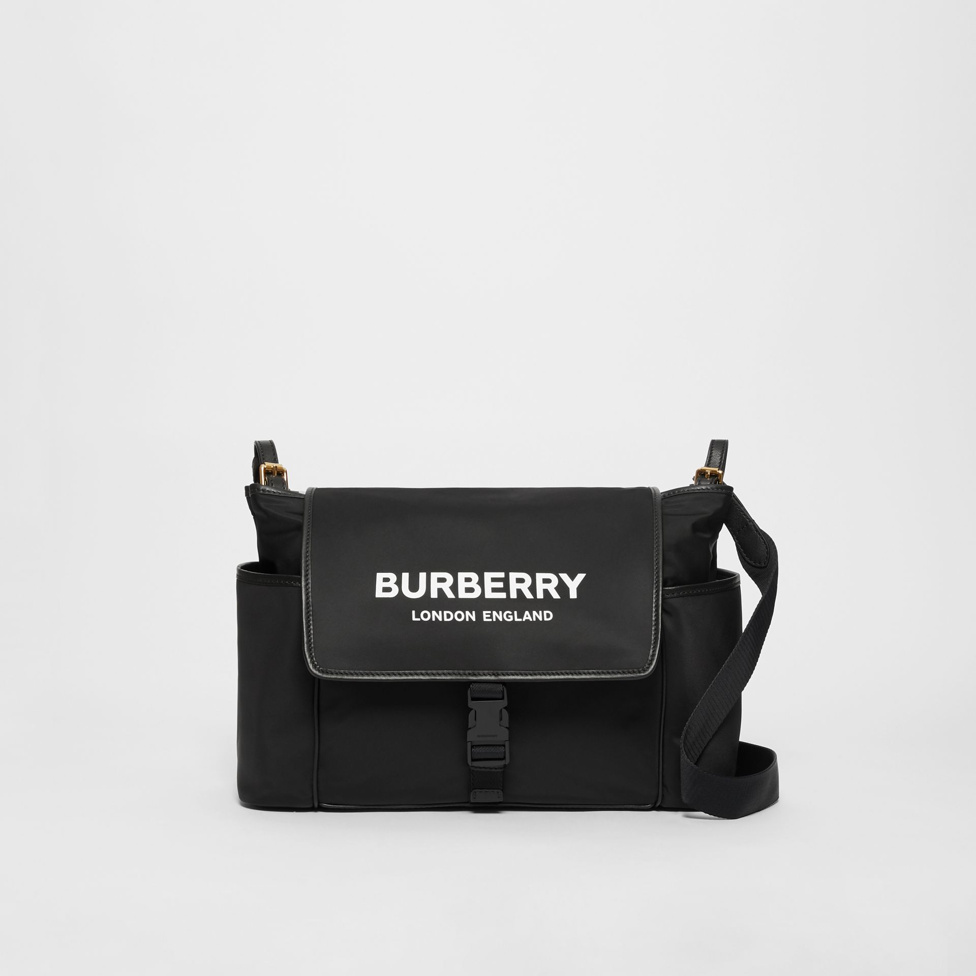 Logo Print Baby Changing Bag in Black - Children | Burberry - gallery image 0