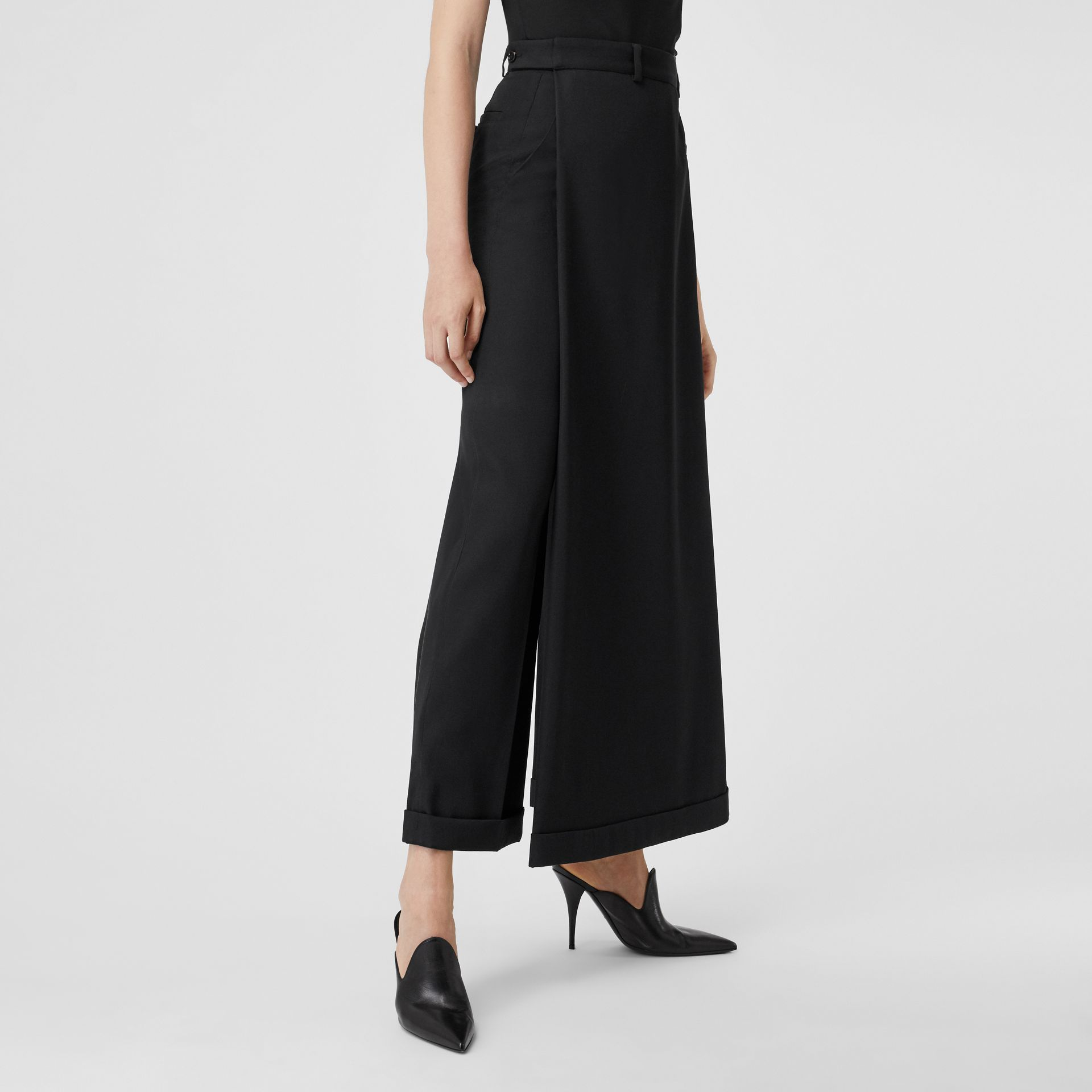 Skirt Panel Wool Wide-leg Trousers in Black - Women | Burberry - gallery image 5