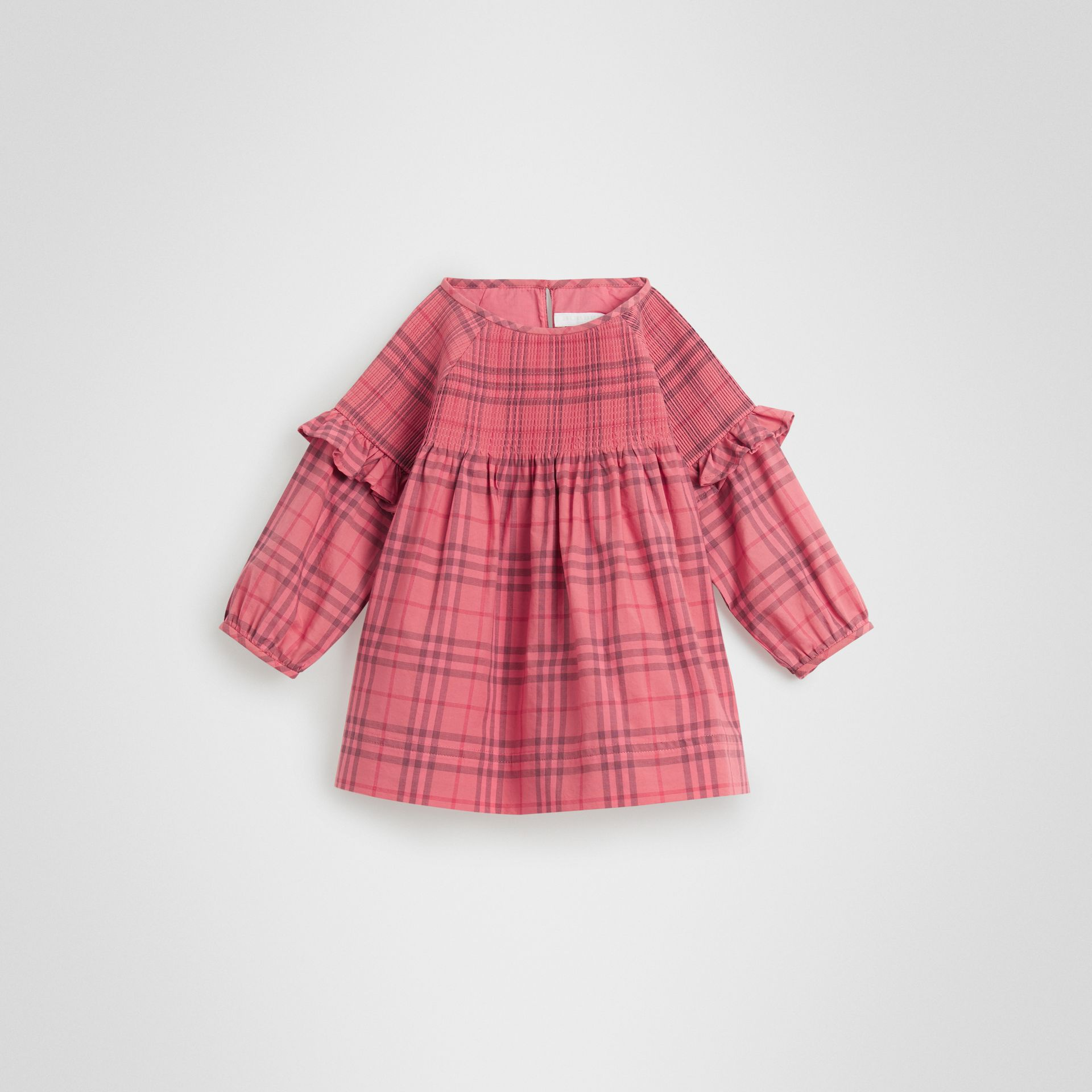 Ruffle Detail Check Cotton Dress in Coral Red - Children | Burberry - gallery image 0