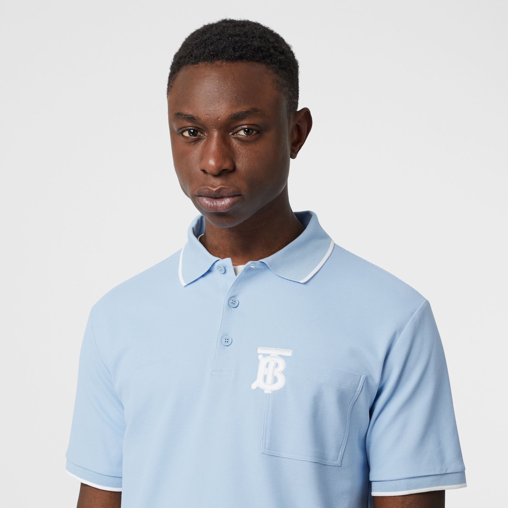 Monogram Motif Tipped Cotton Piqué Polo Shirt in Pale Blue - Men | Burberry - gallery image 1