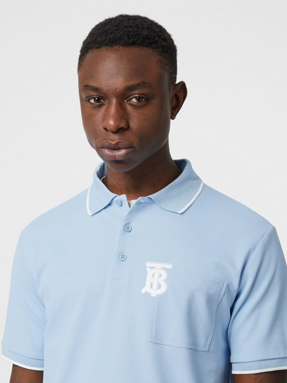 Monogram Motif Tipped Cotton Piqué Polo Shirt in Pale Blue - Men | Burberry - cell image 1