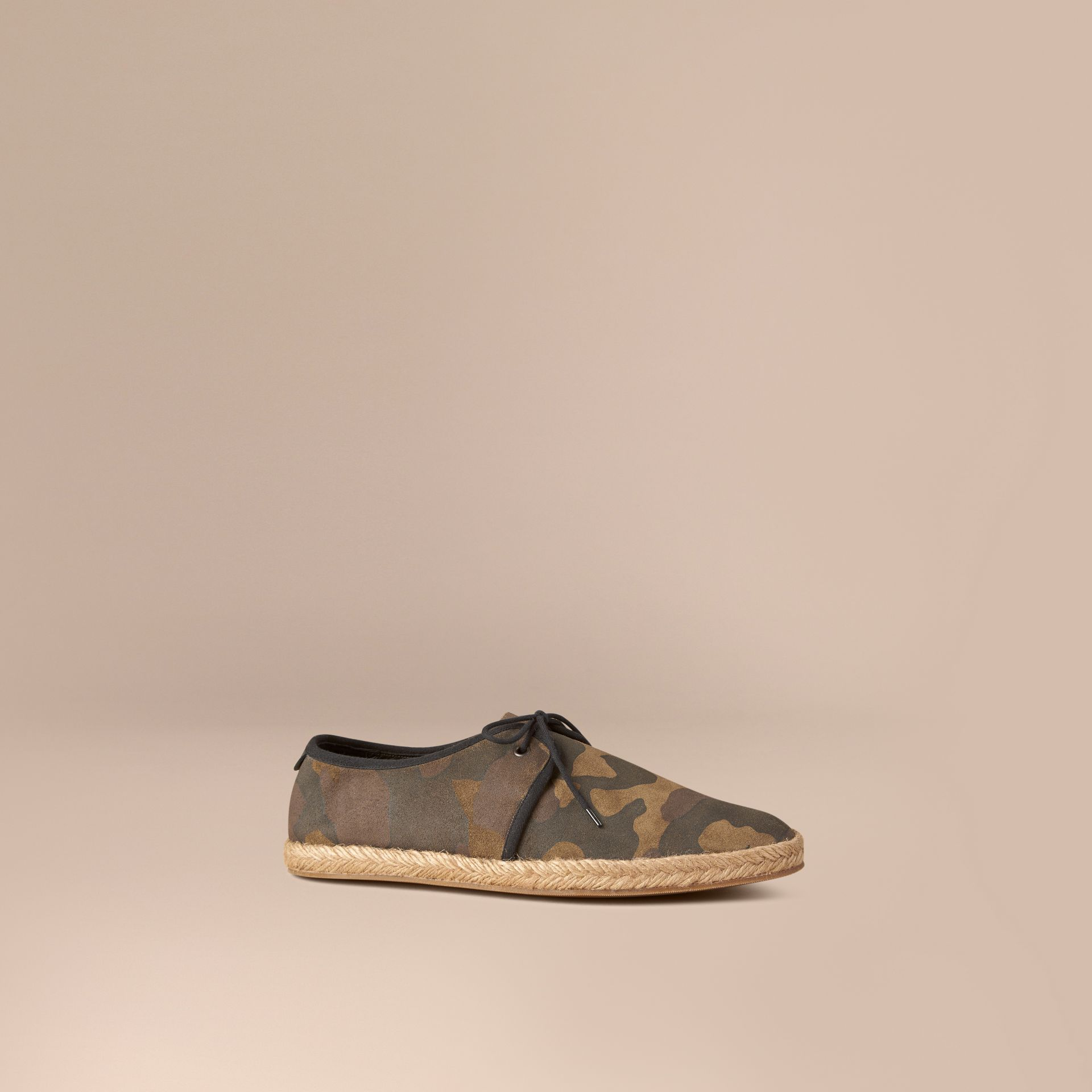 Dark green ochre Camouflage Print Suede Lace-up Espadrilles - gallery image 1