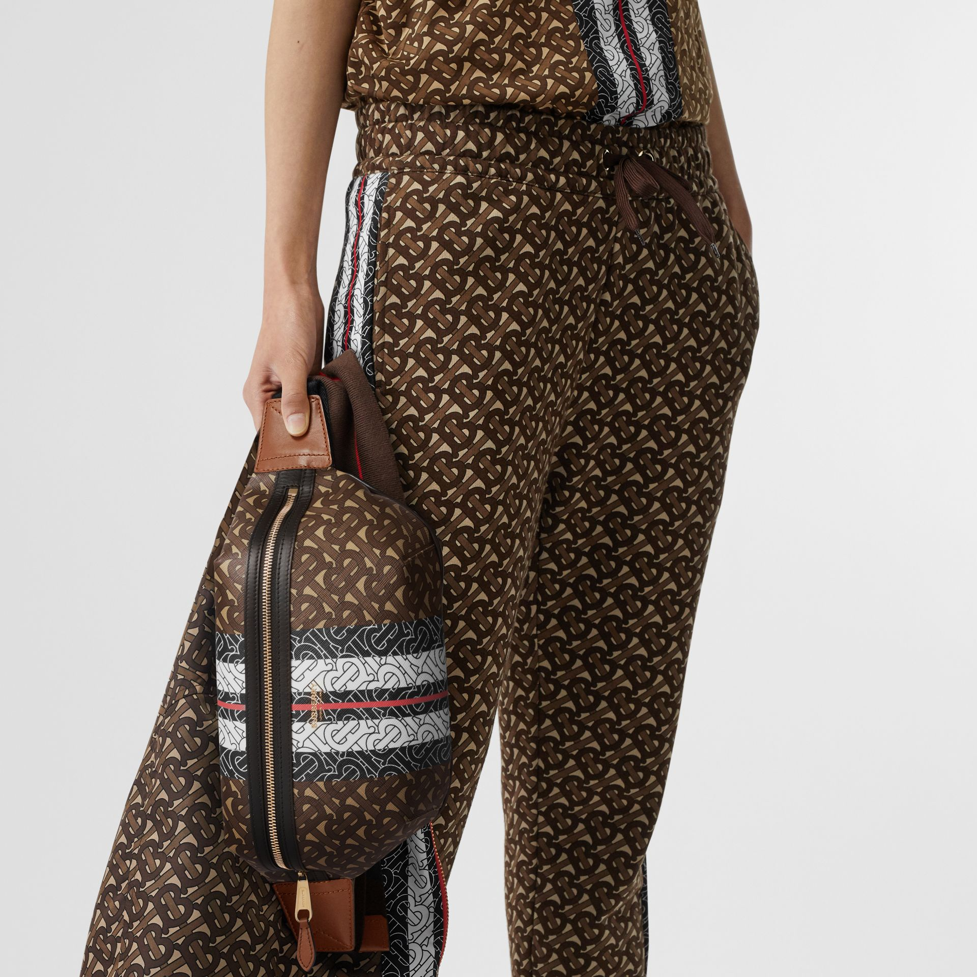 Medium Monogram Stripe E-canvas Bum Bag in Brown | Burberry Singapore - gallery image 2