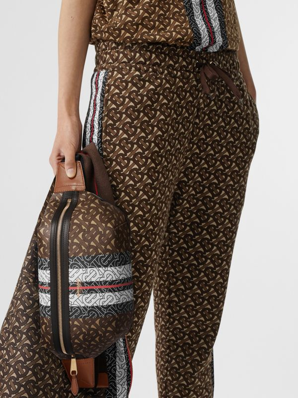 Medium Monogram Stripe E-canvas Bum Bag in Brown | Burberry Singapore - cell image 2