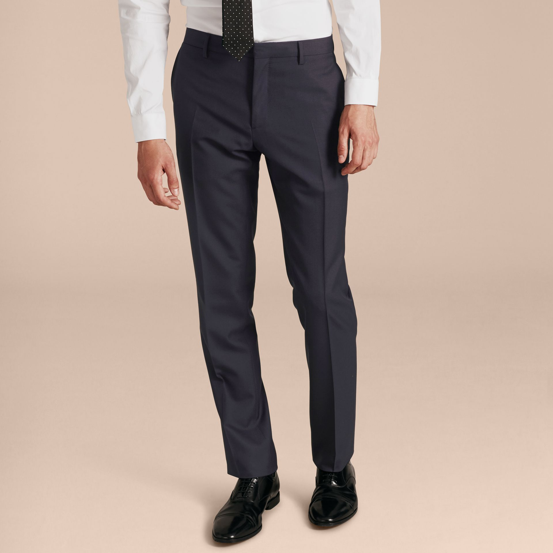 Modern Fit Wool Part-canvas Suit in Navy - Men | Burberry - gallery image 9