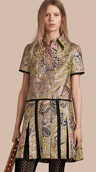 Metallic Floral Jacquard Shirt Dress