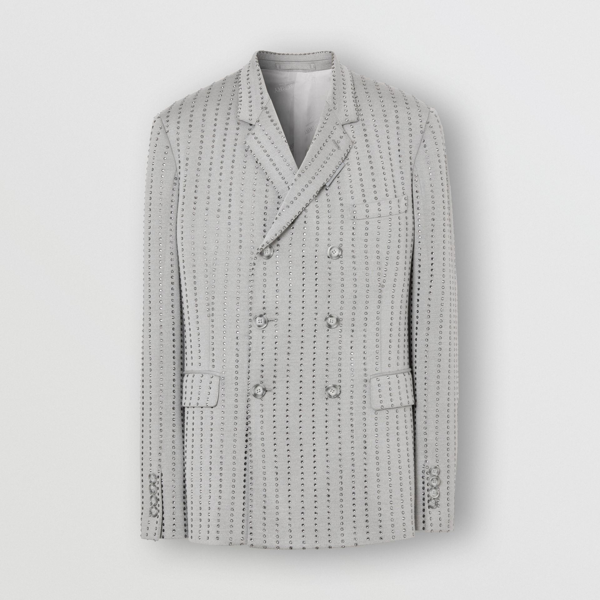 Classic Fit Crystal Pinstriped Tailored Jacket in Light Pebble Grey | Burberry - gallery image 3