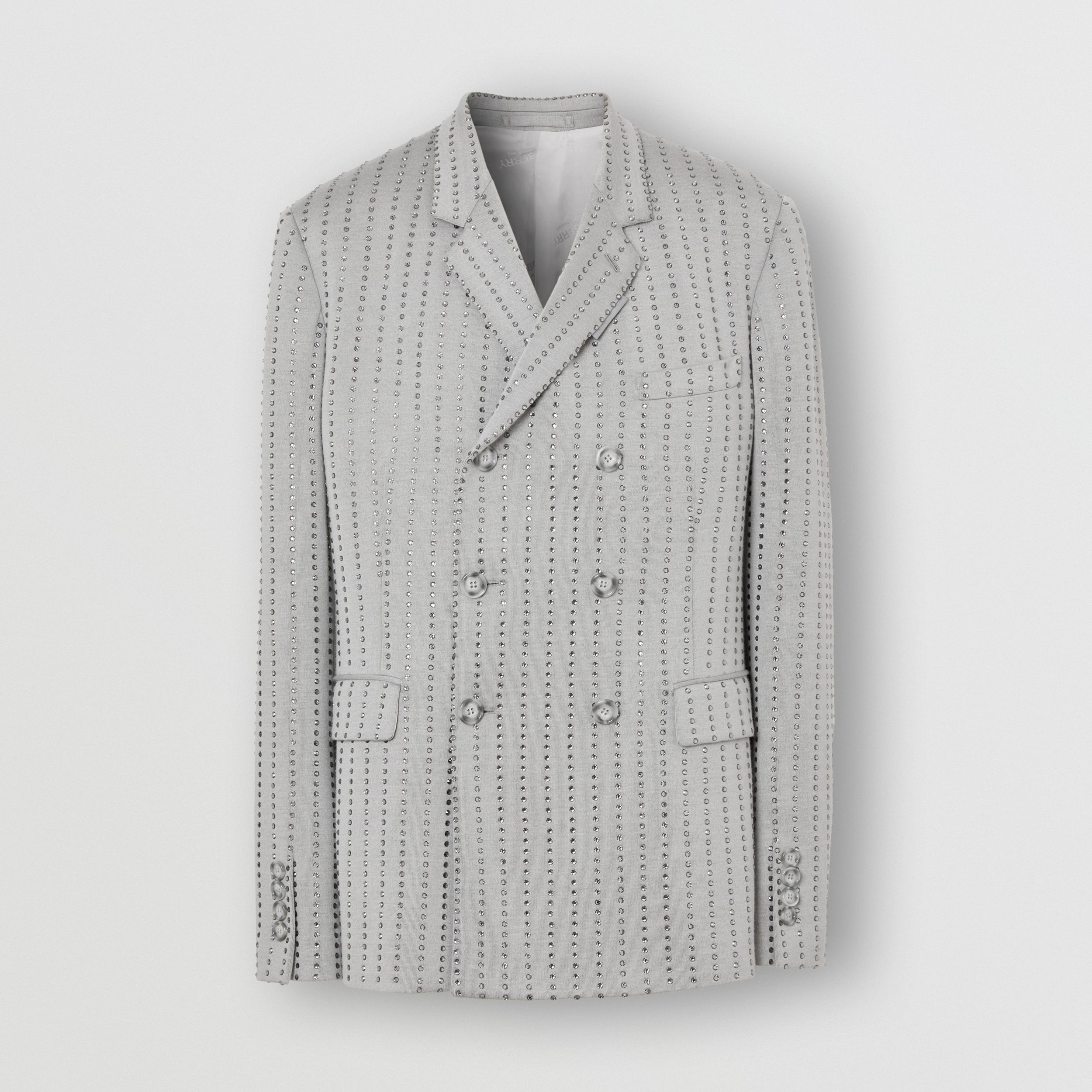 Classic Fit Crystal Pinstriped Tailored Jacket in Light Pebble Grey - Men | Burberry - 4