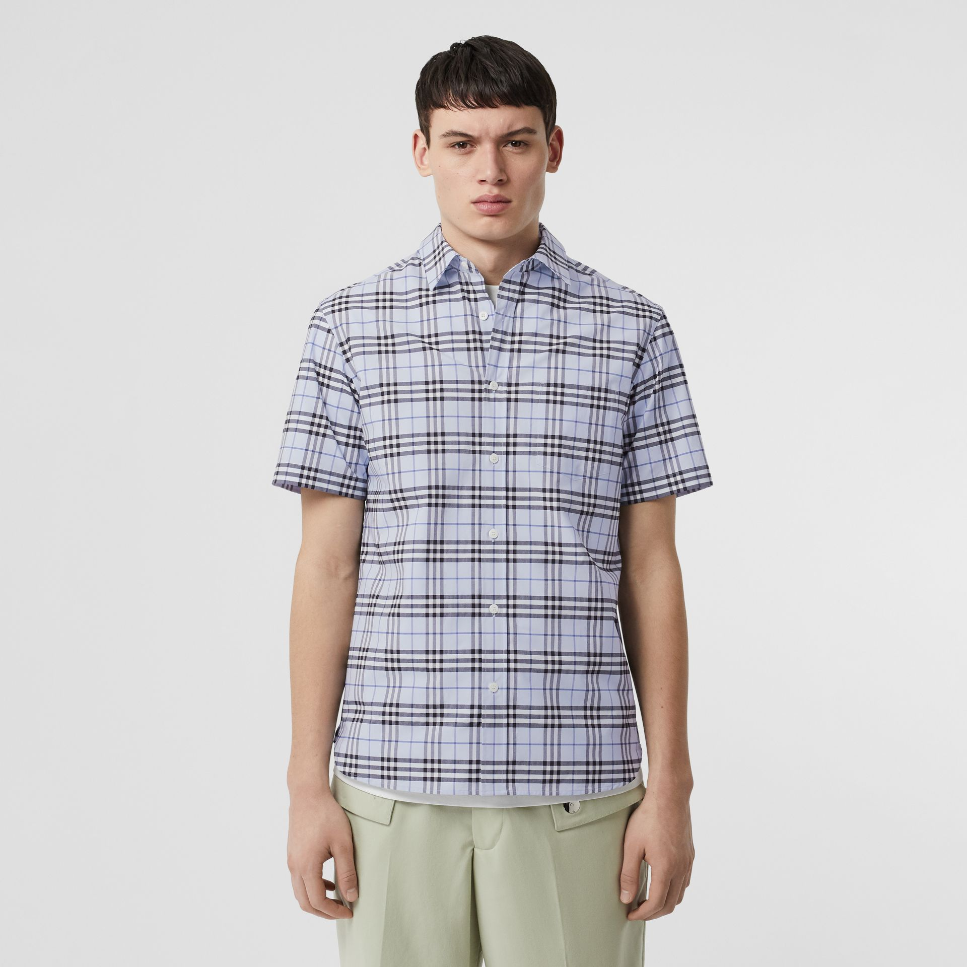 Short-sleeve Check Stretch Cotton Shirt in Sky Blue - Men | Burberry United Kingdom - gallery image 4