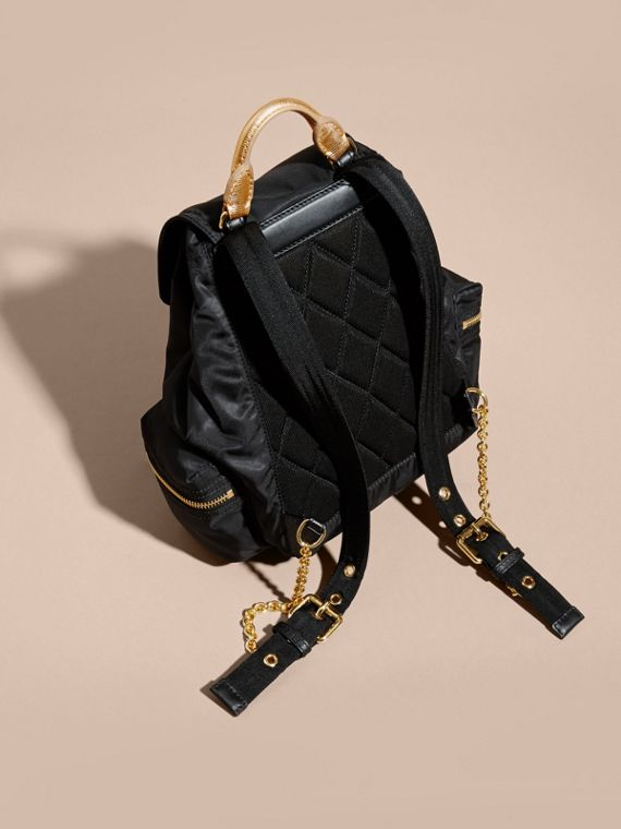 Black/gold The Medium Rucksack in Two-tone Nylon and Leather Black/gold - cell image 3