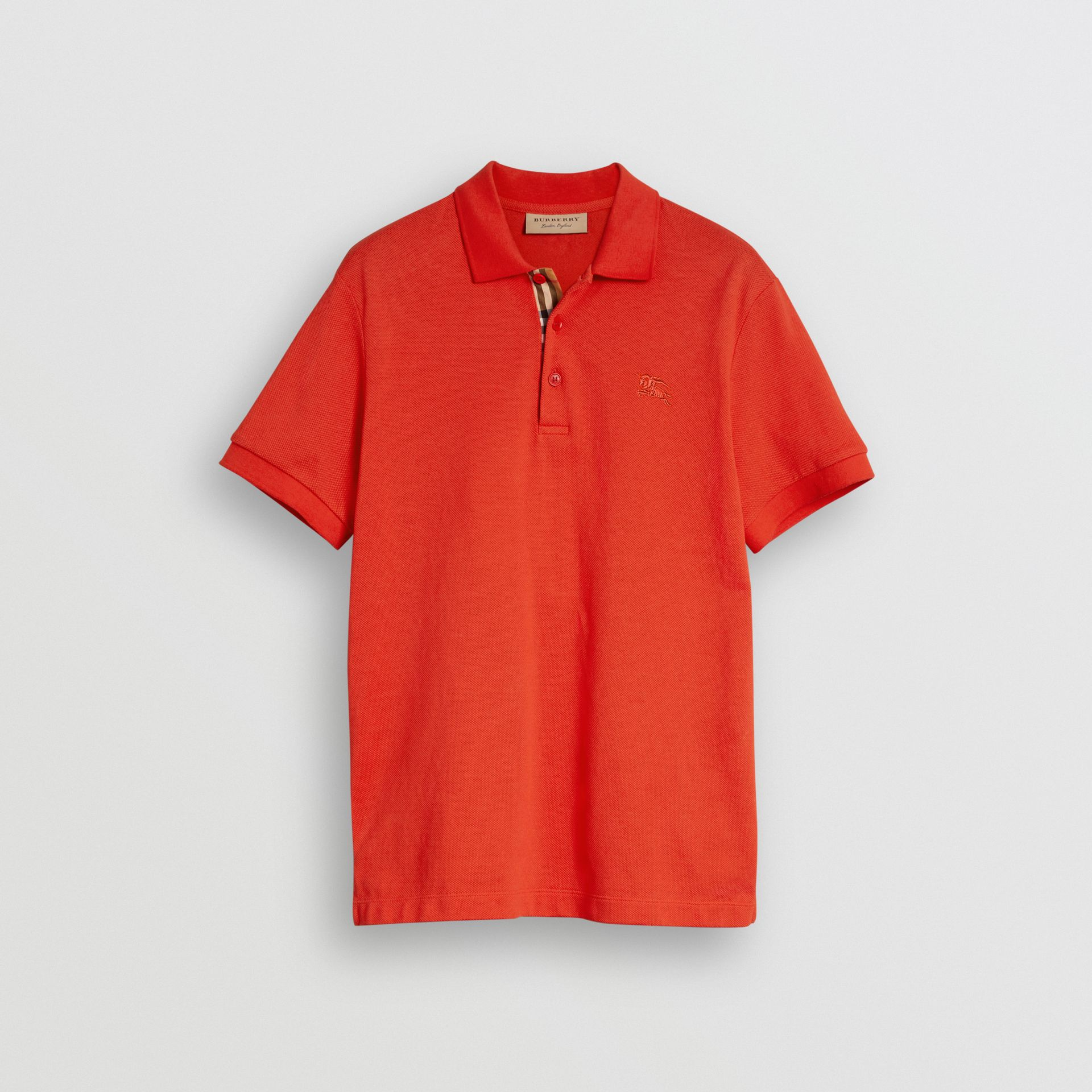 Check Placket Cotton Polo Shirt in Bright Red - Men | Burberry - gallery image 3