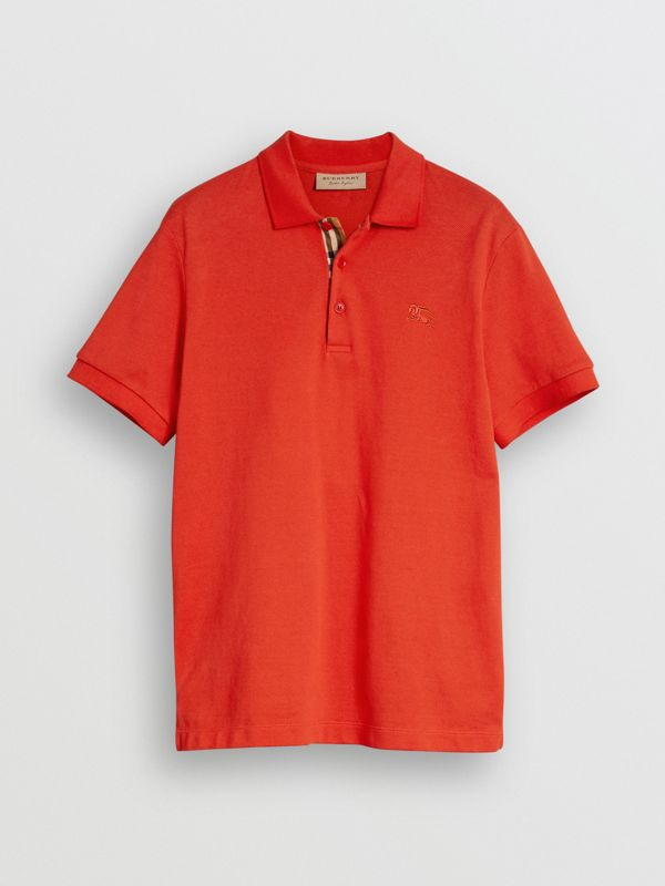 Check Trim Cotton Polo Shirt in Bright Red - Men | Burberry - cell image 3