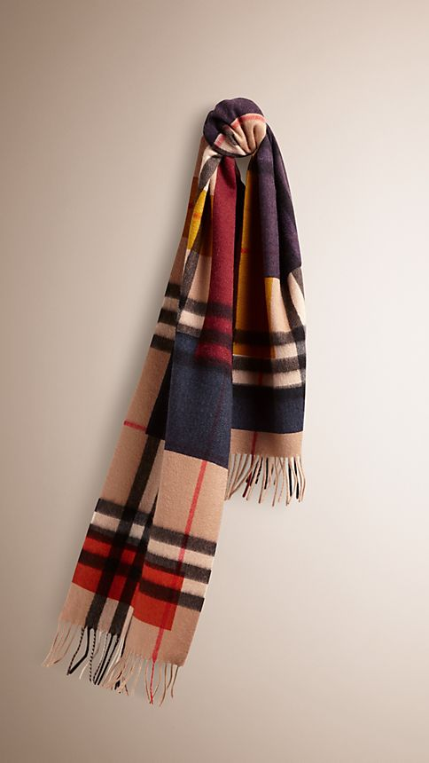 Dark camel check Colour Block Check Cashmere Scarf - Image 1