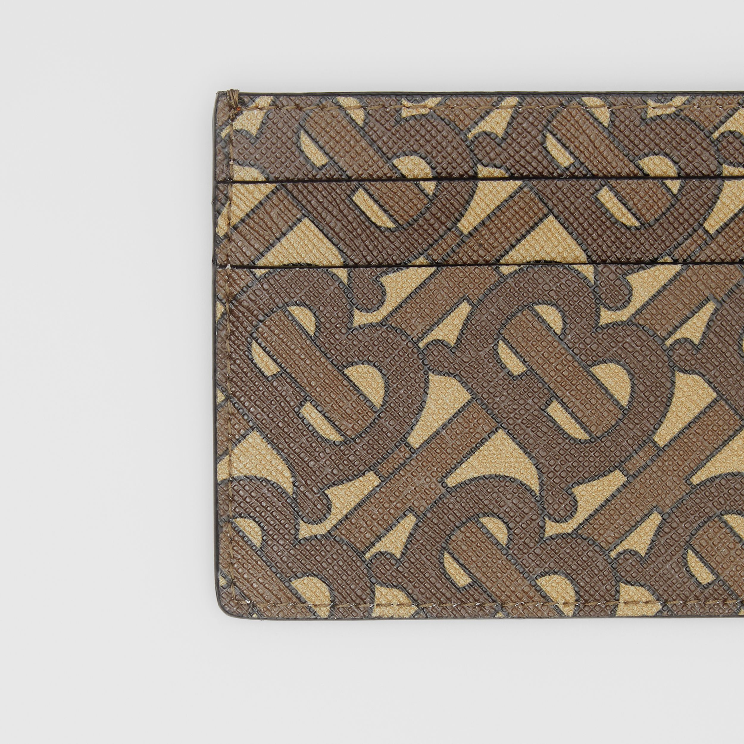 Monogram Print E-canvas Card Case in Bridle Brown | Burberry - 3