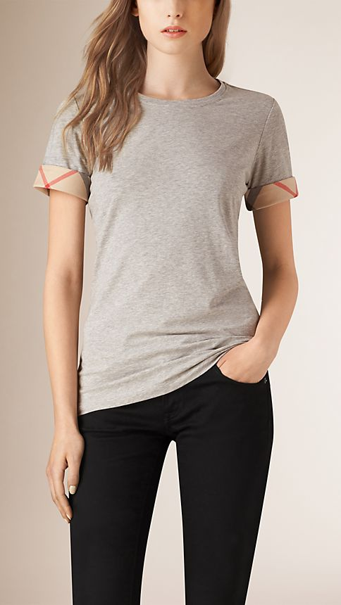 Pale grey melange Check Cuff Stretch Cotton T-Shirt - Image 1