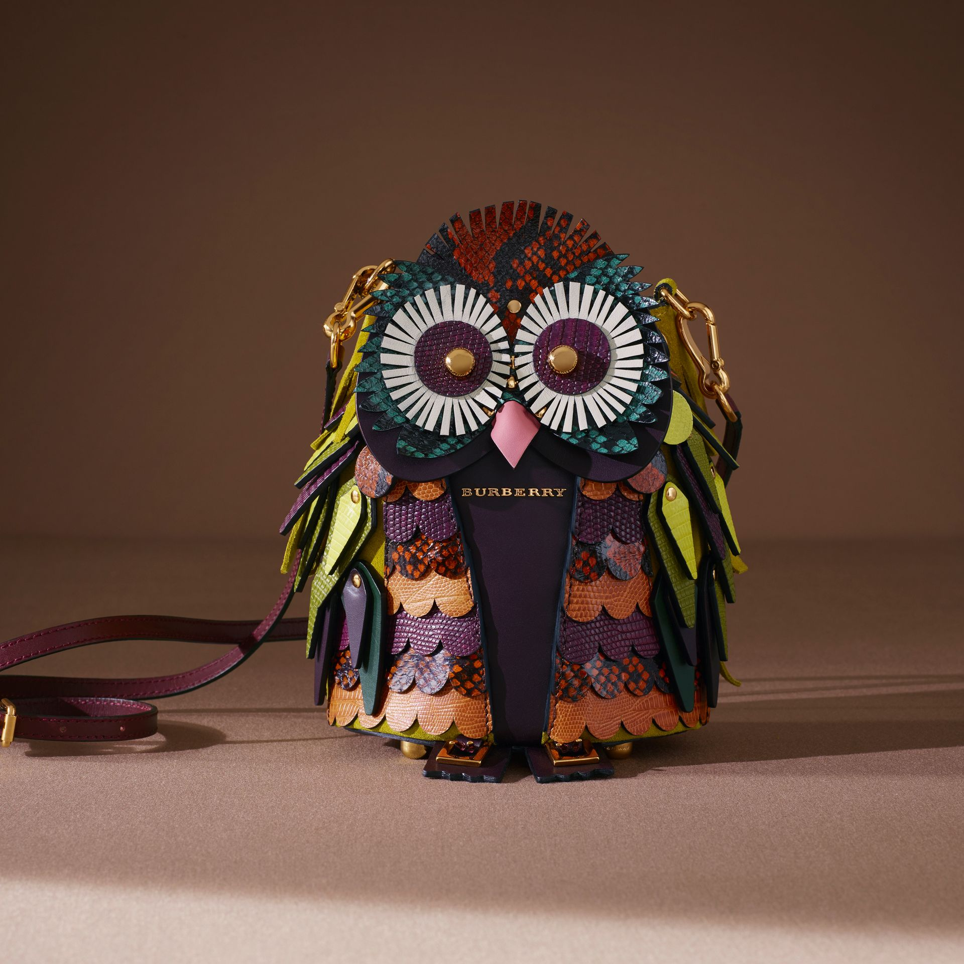 The Owl – Leather and Snakeskin Coin Case in Wine - Women | Burberry - gallery image 6