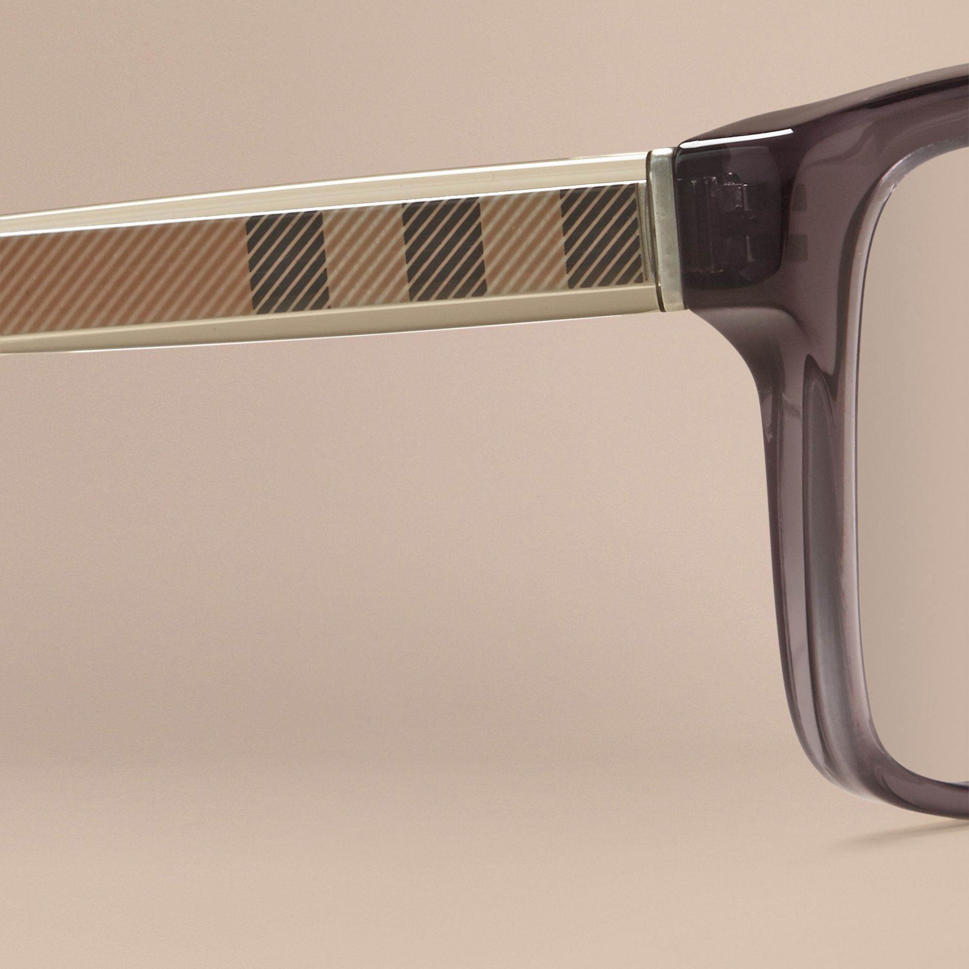 Dark grey Check Detail Rectangular Optical Frames Dark Grey - gallery image 2