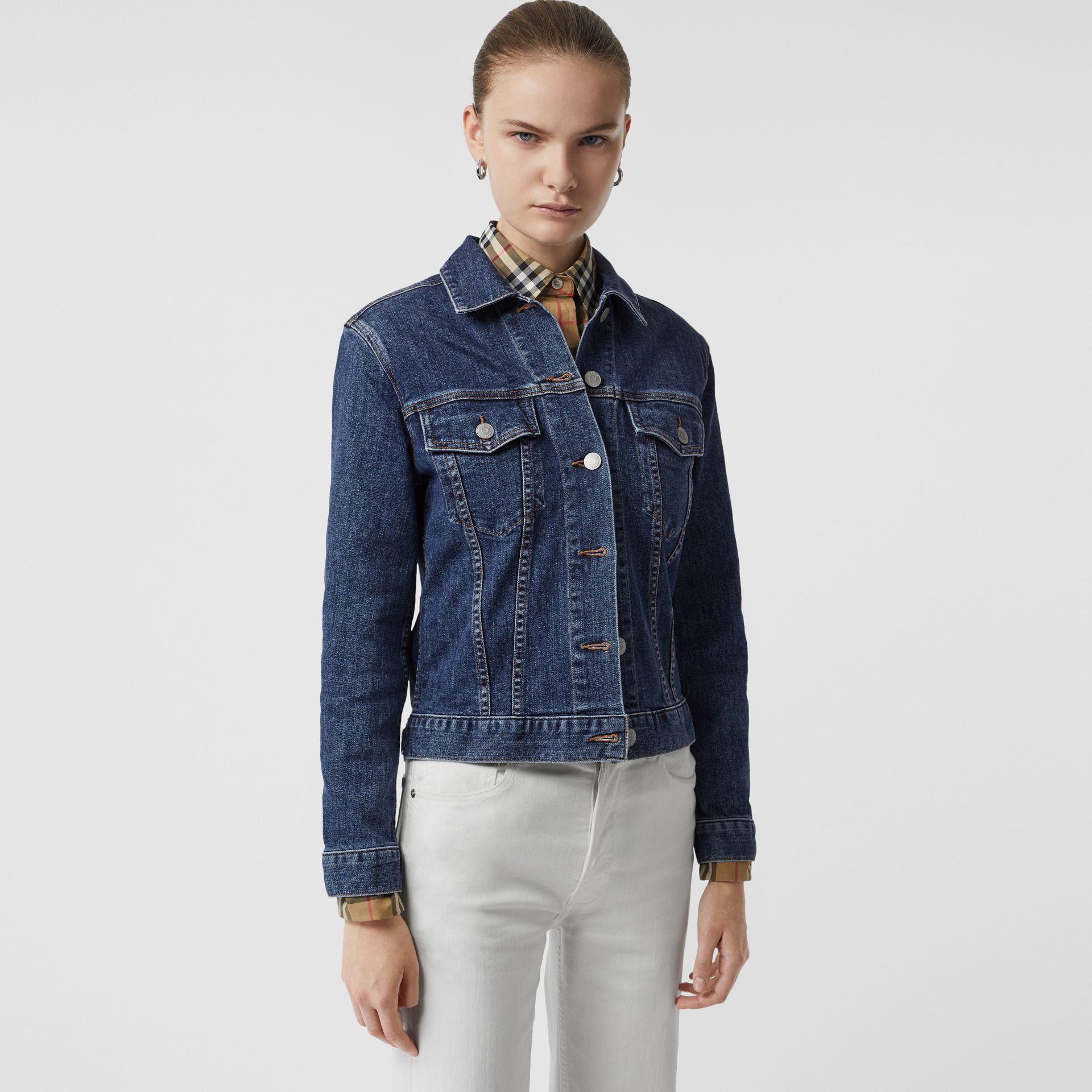 Embroidered Crest Denim Jacket in Blue - Women | Burberry United States - gallery image 2