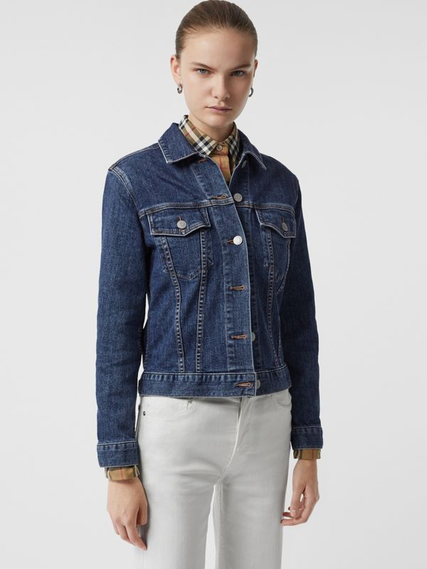 Embroidered Crest Denim Jacket in Blue - Women | Burberry United States - cell image 2