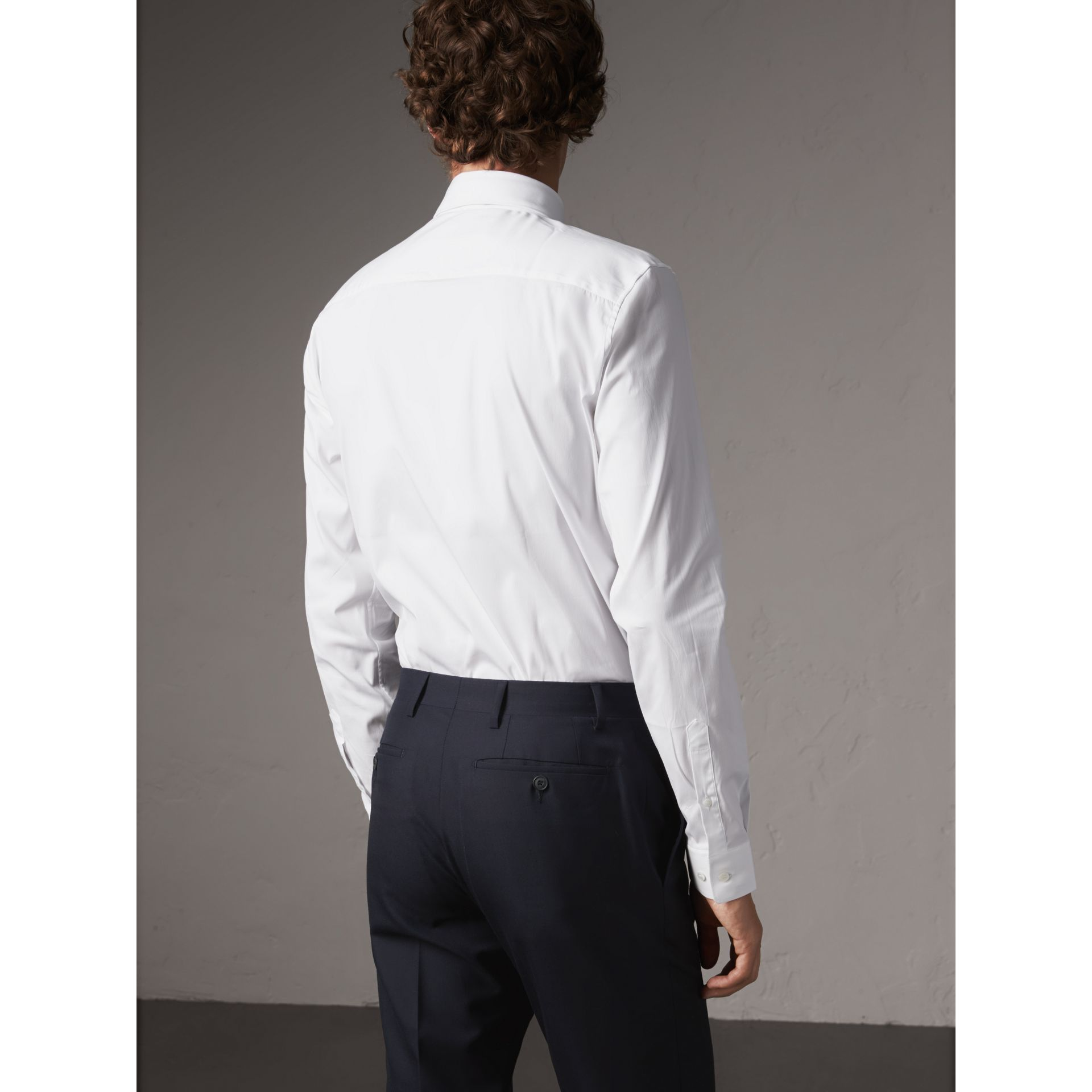 Slim Fit Button-down Collar Stretch-cotton Shirt in White - Men | Burberry Australia - gallery image 3