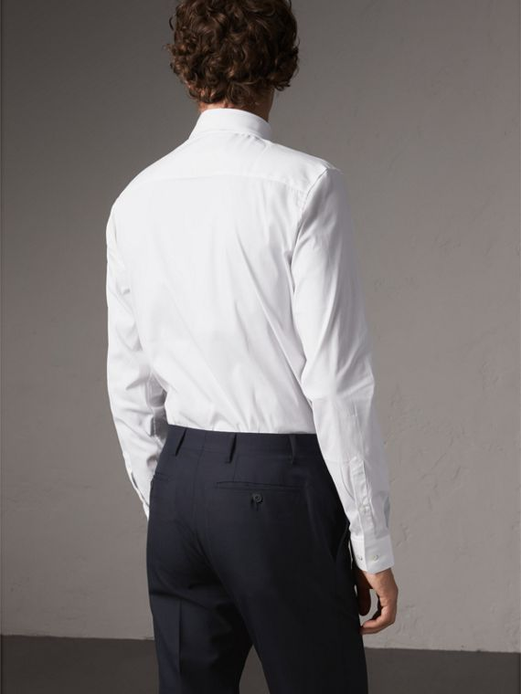 Slim Fit Button-down Collar Stretch-cotton Shirt in White - Men | Burberry - cell image 2