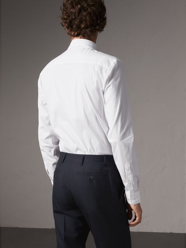 Slim Fit Button-down Collar Stretch-cotton Shirt in White - Men | Burberry United Kingdom - cell image 2