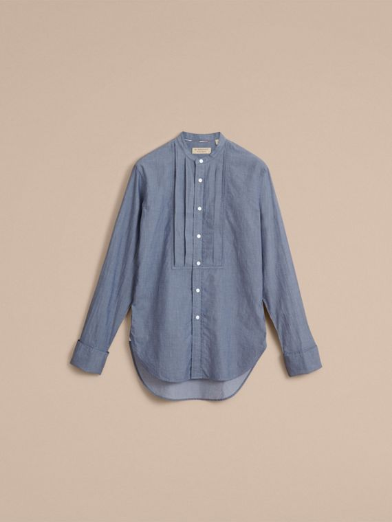 Unisex Grandad Collar Pleated Bib Cotton Shirt - Women | Burberry - cell image 3