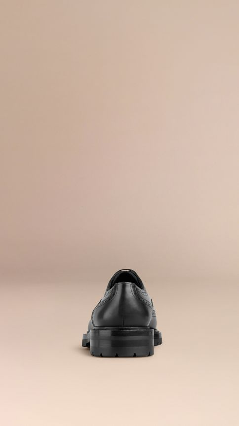 Black Leather Wingtip Brogues With Rubber Sole Black - Image 4