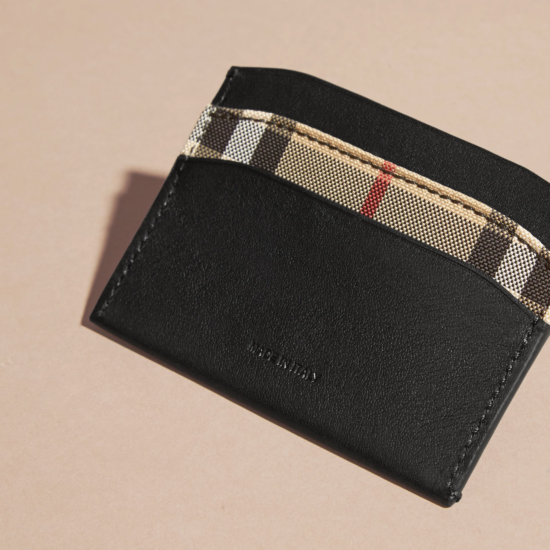 Black Check and Leather Card Case Black - gallery image 3