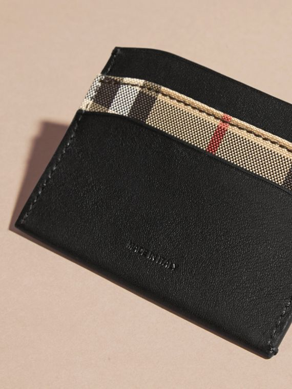 Check and Leather Card Case in Black - Women | Burberry - cell image 2