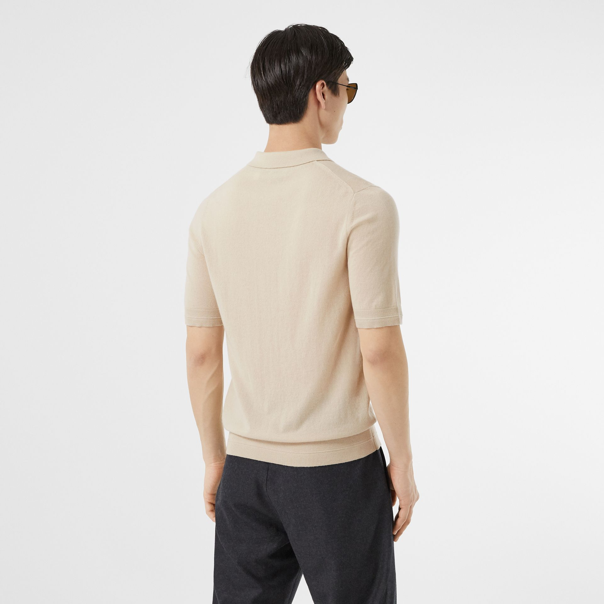 Monogram Motif Cashmere Polo Shirt in Soft Fawn - Men | Burberry United Kingdom - gallery image 2