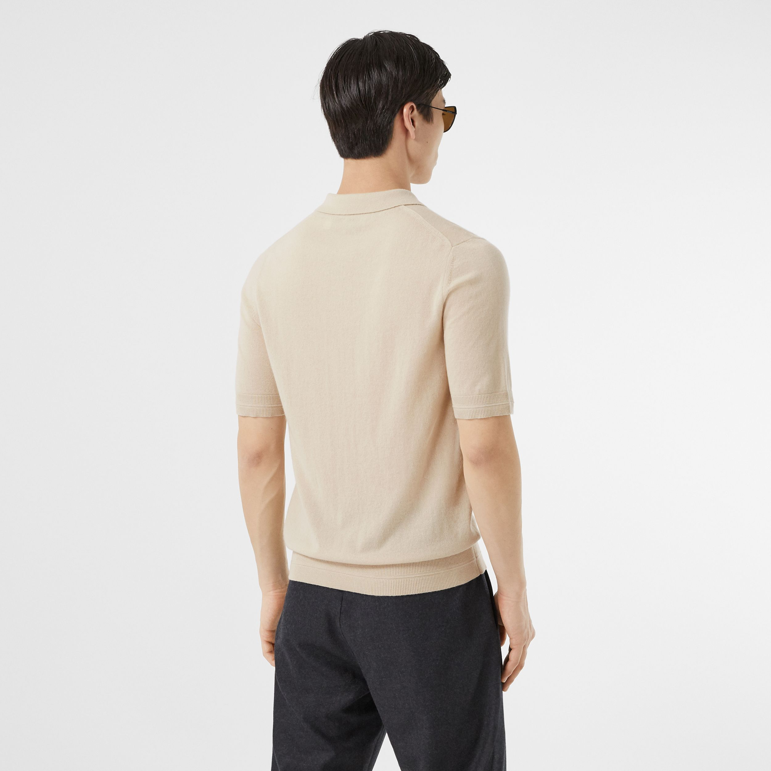 Monogram Motif Cashmere Polo Shirt in Soft Fawn | Burberry - 3