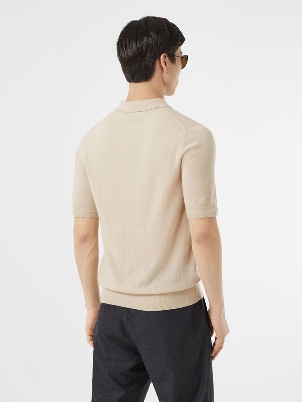 Monogram Motif Cashmere Polo Shirt in Soft Fawn - Men | Burberry United Kingdom - cell image 2