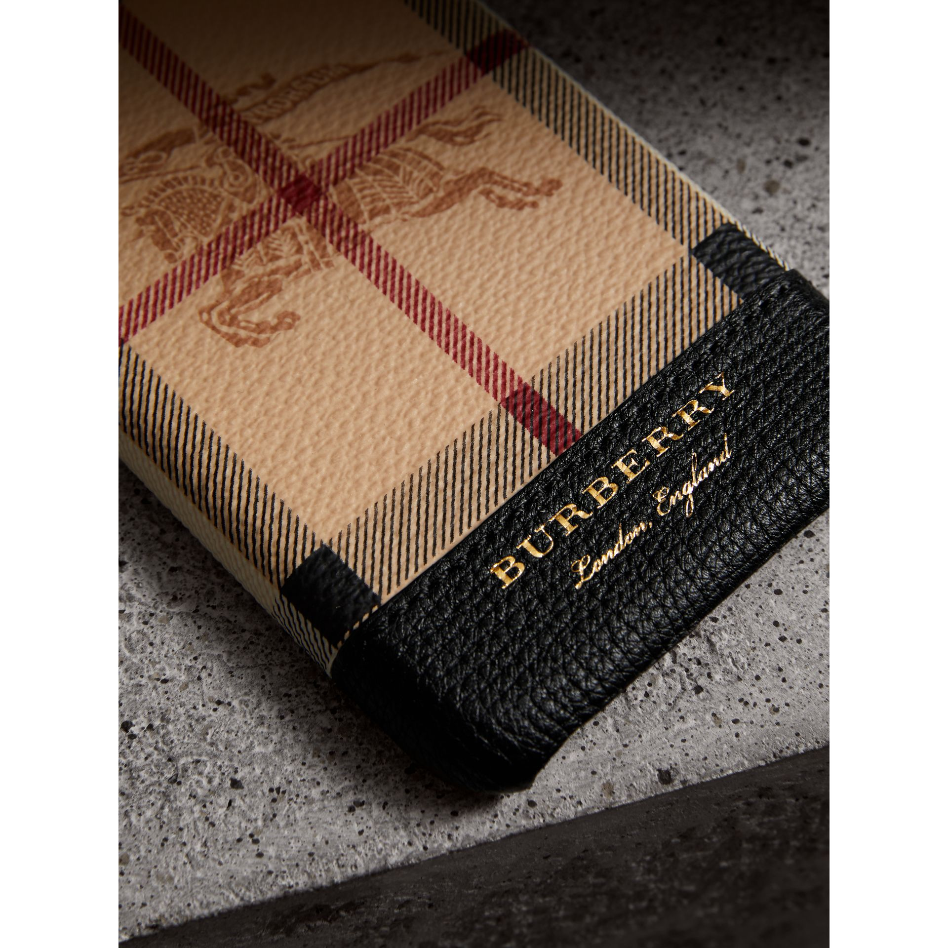 Haymarket Check and Leather iPhone 7 Case in Black | Burberry - gallery image 1