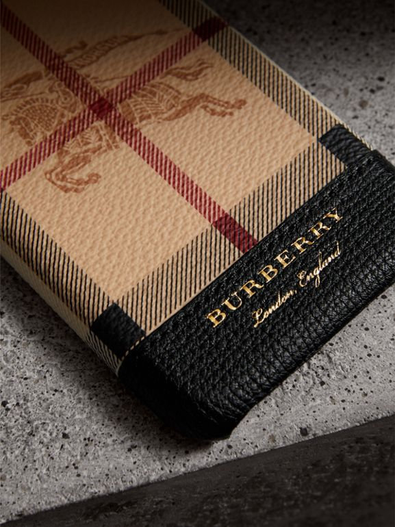Haymarket Check and Leather iPhone 7 Case in Black | Burberry Singapore - cell image 1