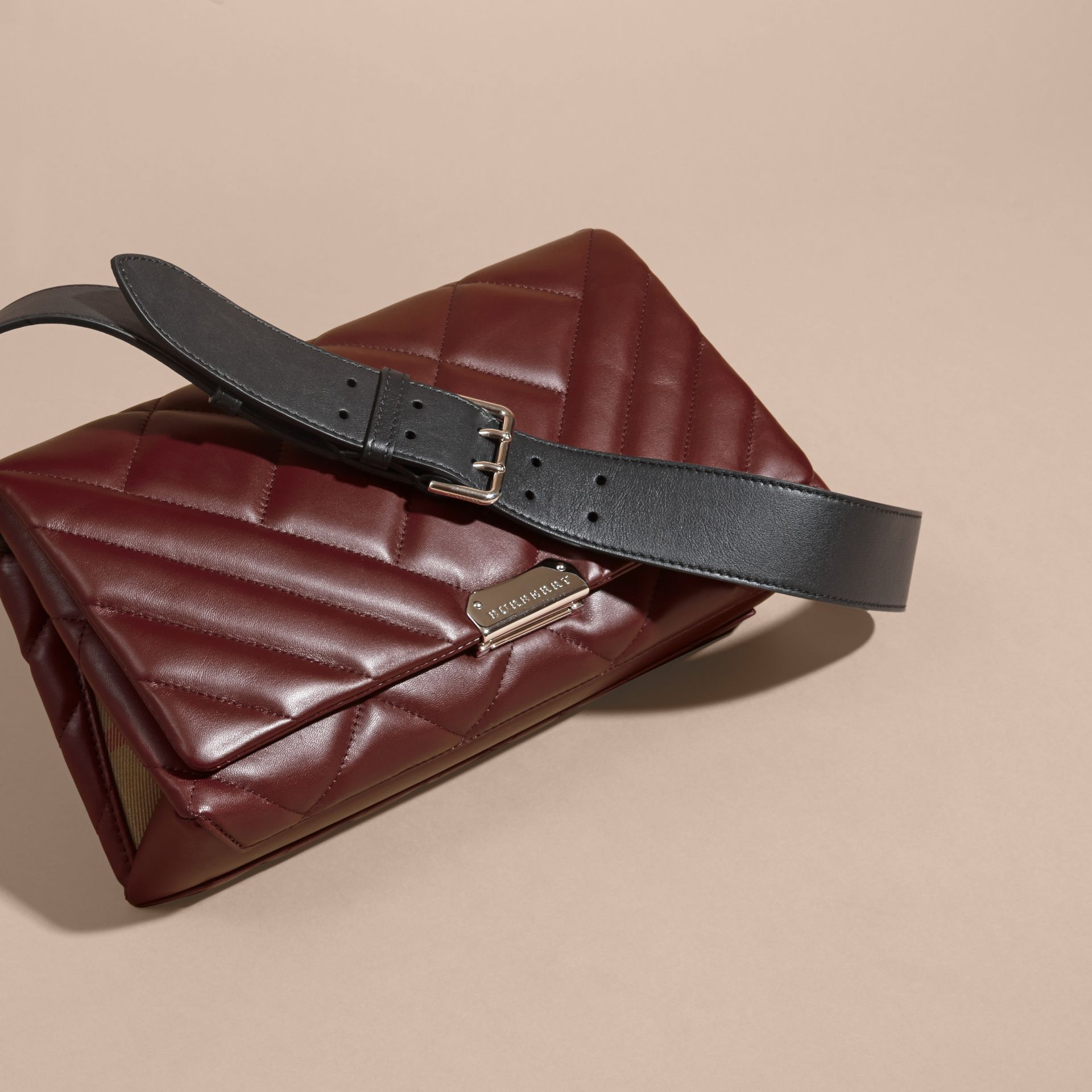 Dark damson Medium Quilted Leather and House Check Clutch Bag - gallery image 8