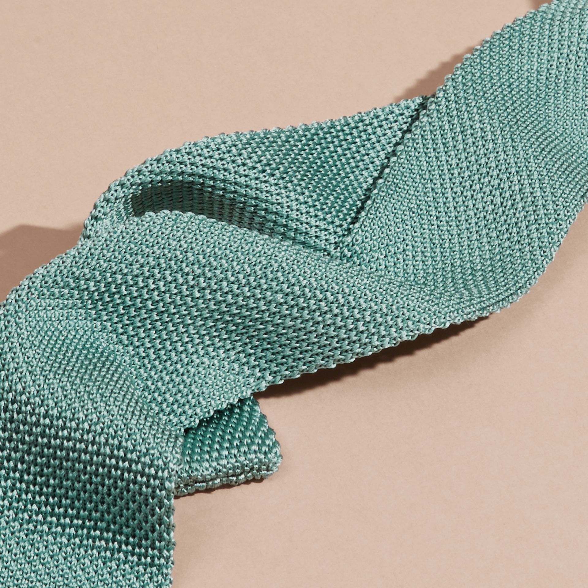 Eucalyptus green Slim Cut Knitted Silk Tie Eucalyptus Green - gallery image 2
