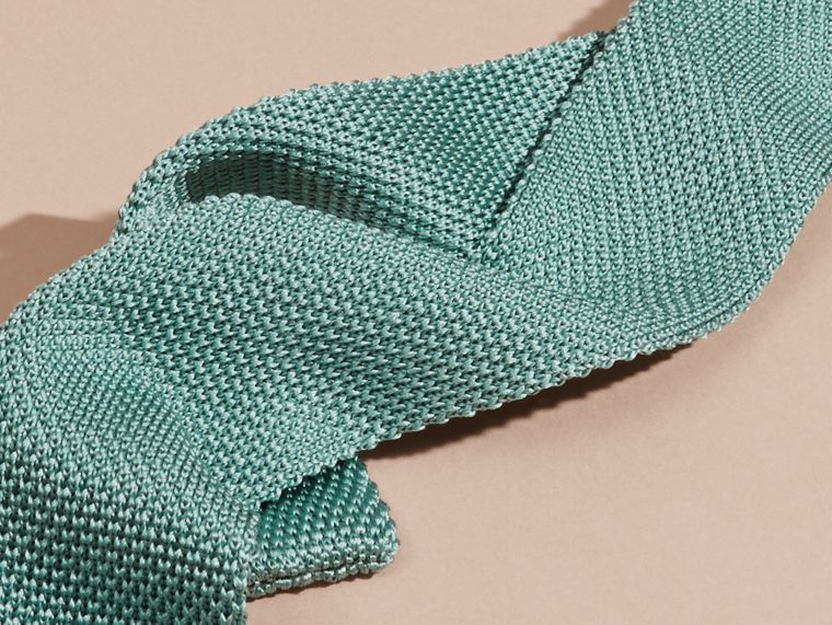 Eucalyptus green Slim Cut Knitted Silk Tie Eucalyptus Green - cell image 1