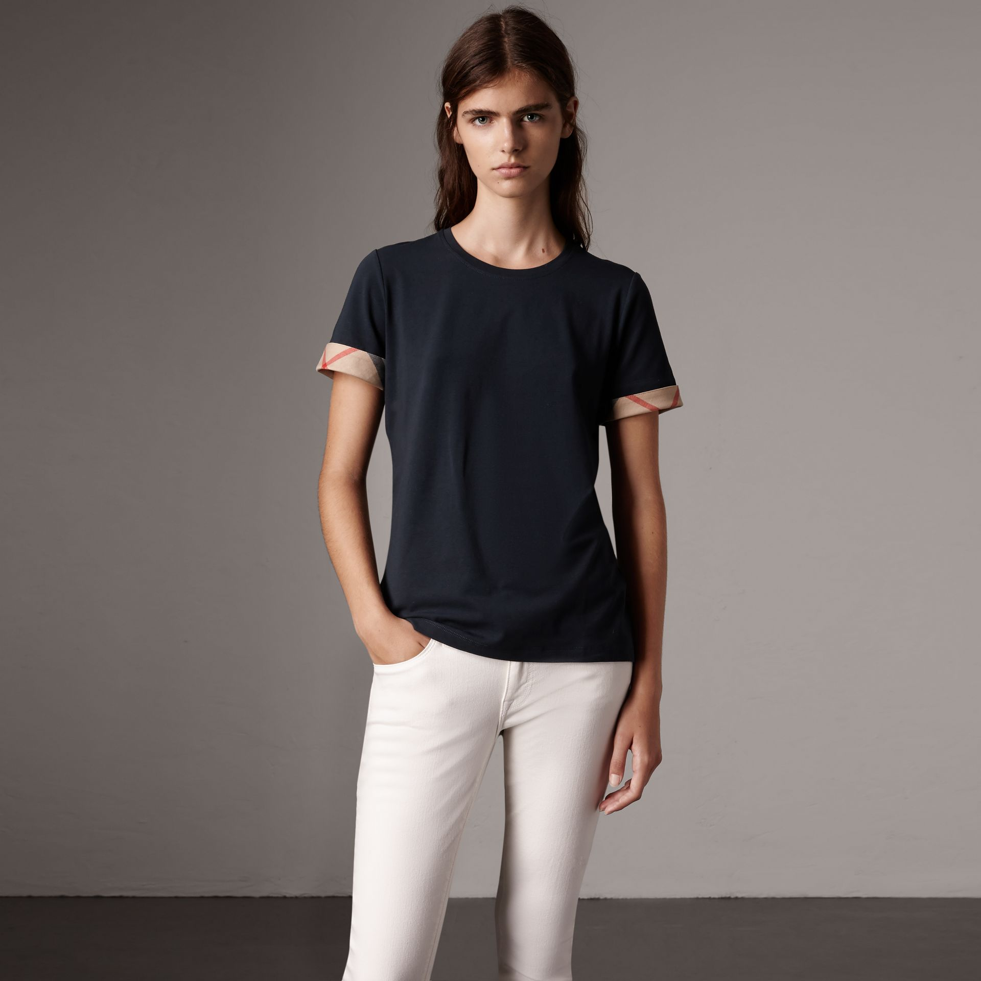 Check Cuff Stretch Cotton T-Shirt in Navy - Women | Burberry - gallery image 0