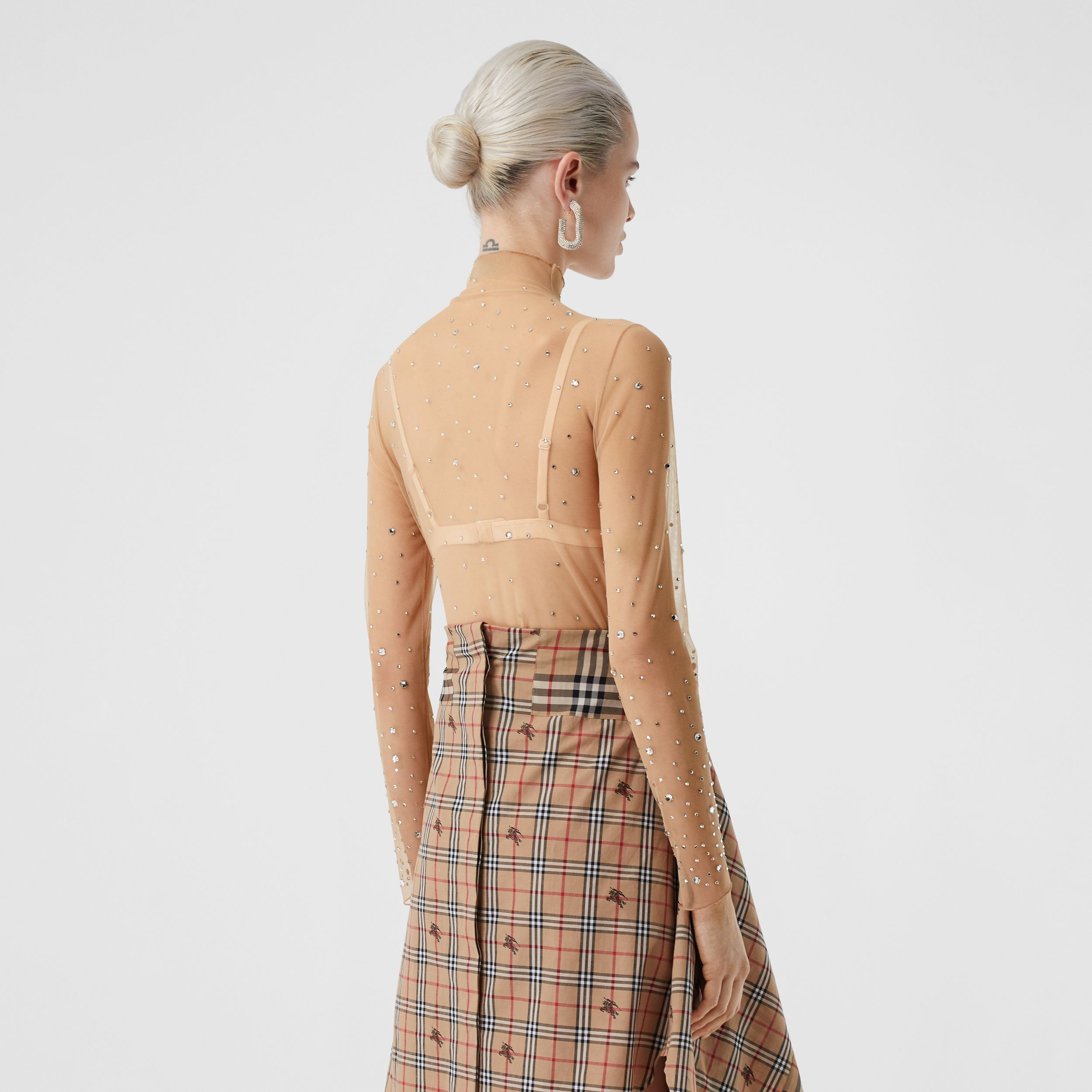 Crystal Detail Stretch Mesh Turtleneck Top in Nude - Women | Burberry - 3