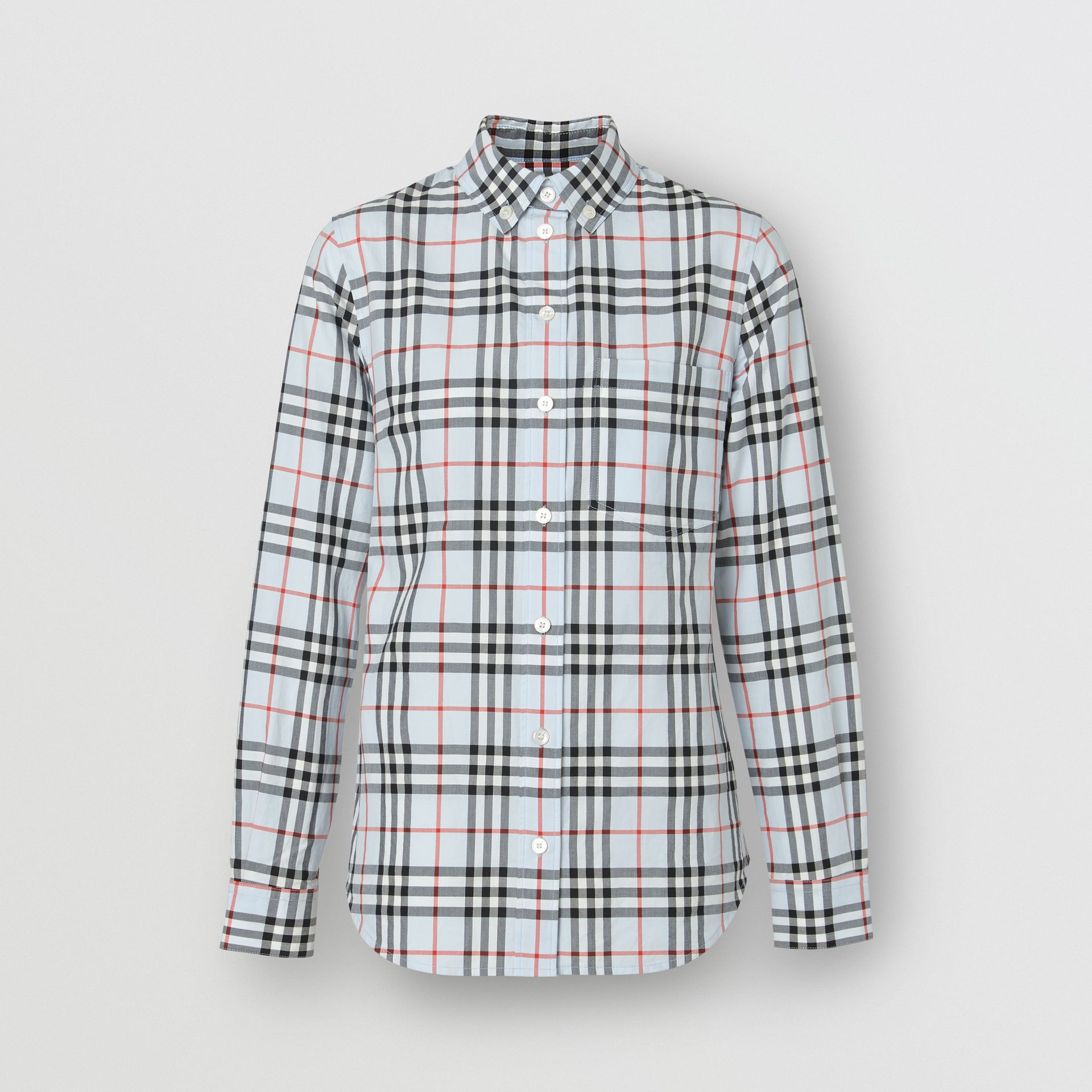 Button-down Collar Vintage Check Cotton Shirt in Pale Blue - Women | Burberry - gallery image 3