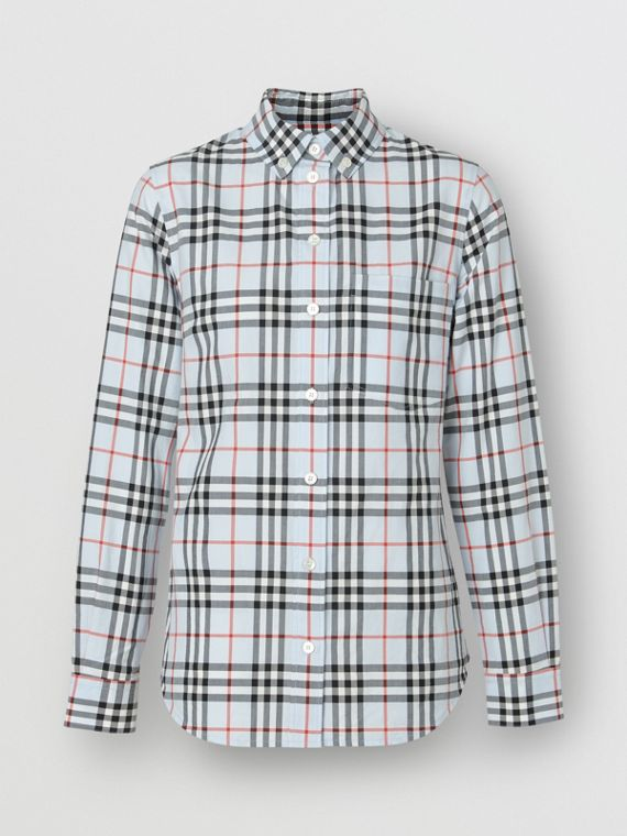 Button-down Collar Vintage Check Cotton Shirt in Pale Blue