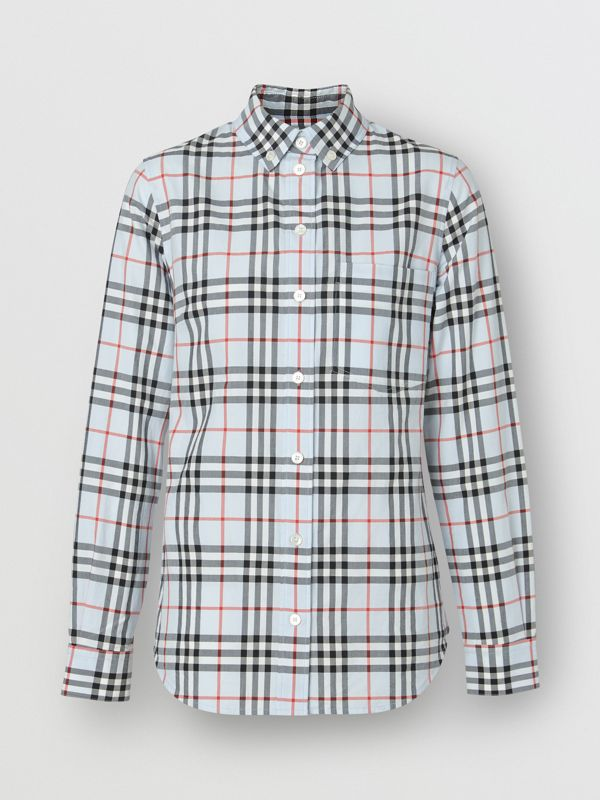 Button-down Collar Vintage Check Cotton Shirt in Pale Blue - Women | Burberry - cell image 3